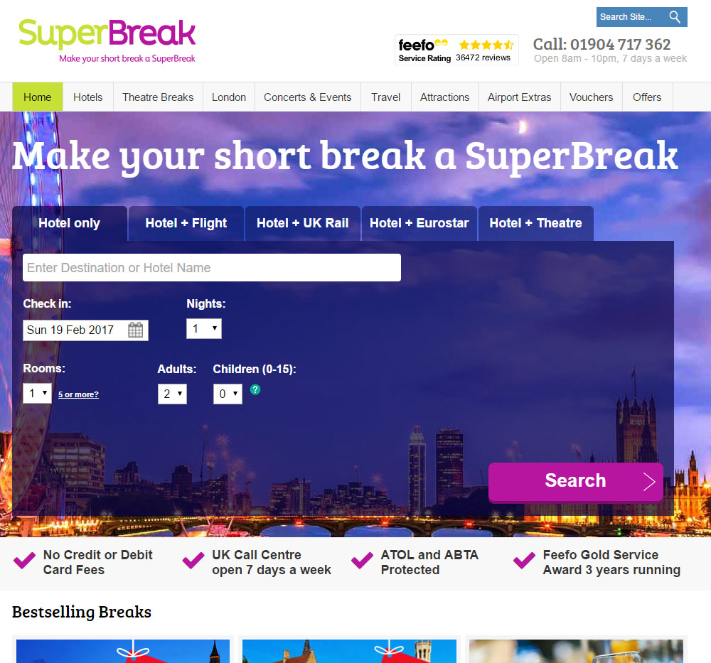 SuperBreak homepage with reassurance icons