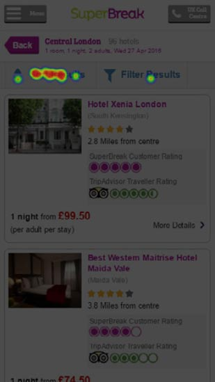 usability click test of SuperBreak hotel search results order by and refine feature
